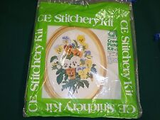 Vtg 1976 Columbia Minerva Crewel Oval Picture Kit Pansy Bouquet #1709 Sealed