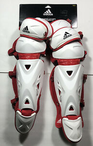 "Adidas Pro Series Leg Grd 2-DH2542 Catchers Shin Guards Red/White 15.5"" Inch"