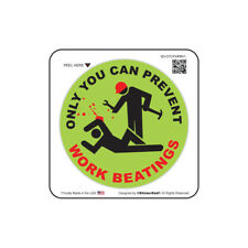 """Only You Can Prevent Work Beatings (2 Pack) Hard Hat Sticker (size: 2"""" color:G)"""