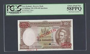 New Zealand 10 Shillings ND(1956-60) P158cs Specimen TDLR About Uncirculated