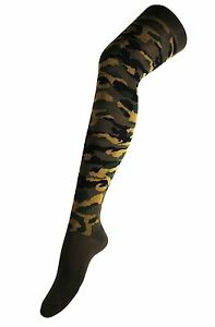 Ladies Army Woodland Camo Over Knee Thigh High Long Socks Camouflage UK 4-7