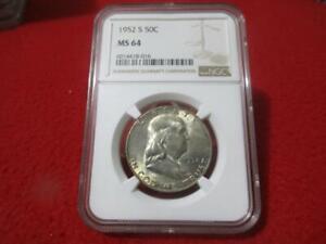 1952-S  Silver Franklin Half Dollar. NGC MS 64                        #MF-T2967