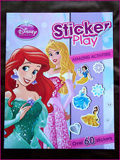 DISNEY PRINCESS - STICKER PLAY ACTIVITY BOOK - 60+ Stickers & Puzzles & More NEW