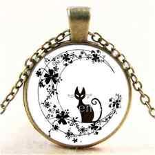 Vintage Black Cat In Flower Moon Cabochon Glass Bronze Pendant  Necklace