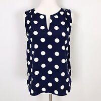 NWT New PIXLEY For Stitch Fix Women's SMALL Navy Blue Polka Dot Sleeveless TOP