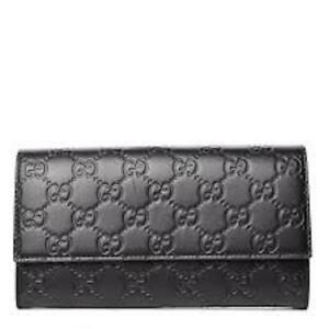 Gucci Signature Guccissima Black Clutch Fold over GG Wallet Bag Purse Italy New