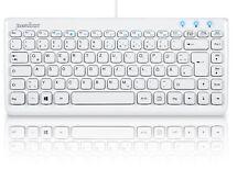 Perixx PERIBOARD-407 Flache Mini Tastatur Weiß Multimedia Tasten QWERTZ
