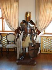Combat Full Body Armour Shield Stand Medieval Knight Suit of Armor 15th Century