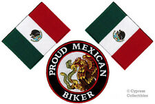 LOT of 3 PROUD MEXICAN BIKER IRON-ON PATCH MEXICO FLAG embroidered PARCHE