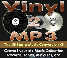 Vinyl 2 MP3 Transfer & Convert Old Vinyl Records to MP3 & CD 1m Kit with FREE CD