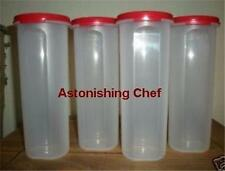 TUPPERWARE MODULAR MATES ROUND #4 SET RED 4 CONTAINERS