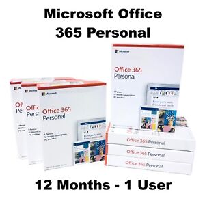Microsoft Office 365 Personal 1 User 12 Months Licence Key Code PC Mac IOS 2019