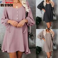 Women's Solid Knitted Mini Dress Ladies Casual Loose Long Sleeve Swing Dress