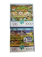 Buffalo Games Charles Wysocki 1000 Piece Puzzle Lot Of 2 Used Complete