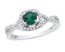 10k White Gold Womens Lab Emerald Solitaire Diamond Ring 3/4 Cttw