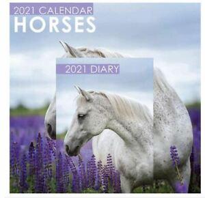 Horses 2021 Calendar with Nice Photos and A5 Diary Set