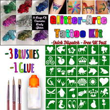GLITTER TATTOO KIT Kids Temporary Tattoo Stencil Glitter Party Pack Easy Use VS2