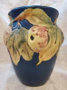 Gorgeous Antique Weller Pottery Blue Baldwin Apples Jardiniere Vase Ex. Cond.