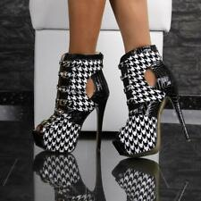 Sexy Patent Leather Platform Ankle Boots High Heels Black/White #RMD1198