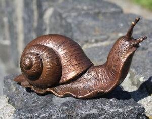 Bronzeskulptur kleine Schnecke Dekoration für Haus und Garten (7106)