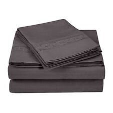 King Superior Regal Embroidered Greek Key Microfiber Sheet Set 4- Piece Charcoal