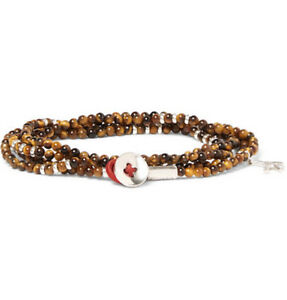 NEW ISAIA SARACINO TIGER'S EYE AND SILVER WRAP BRACELET italy one size brown
