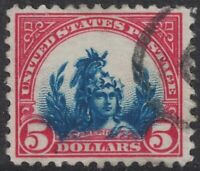 Scott 573- Used, Major Vignette Shift Error, Below Frame- $5 America- 1925- EFO