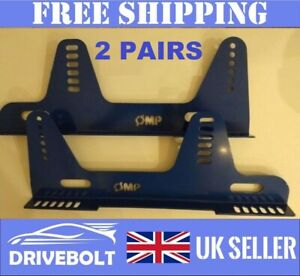 2 pairs of BLUE Bucket Seat Side Mounts Brackets OMP Sparco Cobra Race Rally