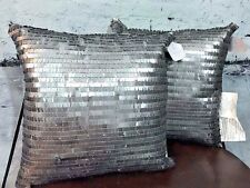 Mini Sequin Pillow Silver Gray Shiny Shimmer Metallic Glamorous Throw Couch NWT