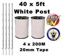40 X WHITE 5FT POSTS 4x200m 20MM POLY TAPE Electric Fence Fencing Horse Paddock