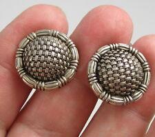 Silver Round Dome Basket Weave Cufflinks Estate Stunning John Hardy J H Sterling