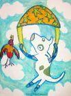 American Pit Bull Terrier SkyDiving Folk Art Print 8 x 10 Dog Collectible KSams
