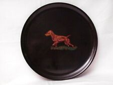 Rare Vintage Pointer Hunting Dog Couroc of Monterey Inlaid Black Tray 10 ½� Mcm