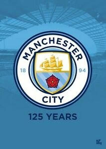 MANCHESTER CITY SKY BLUES TEAM CREST POSTER 24' x 36' SHIPS FROM USA