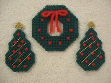 3 Christmas Magnets Plastic Canvas Handmade 2 Christmas Trees & 1 Wreath