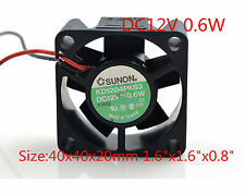 "SUNON Cooling Fan 4CM 4020 12V 0.6W KD1204PKS3 2 pin 40x40x20mm 1.6""x1.6x0.8"""