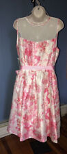 Signature By Robbie Bee Dress 12 Floral Pink White NWT Sleeveless Dressy Casual