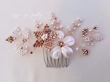 Rose Gold Ivory bridal head piece, Swarovski crystals, pearls, hair comb slide