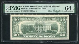 "FR. 2071-E 1974 $20 FRN ""OFFSET PRINTING ERROR"" PMG CHIOCE UNCIRCULATED-64EPQ"