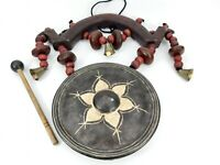 Chinese Asian Metal & Wood Gong - Feng Shui Decor & Beater Mallet Hanging Bells