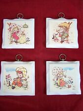 Homco Set Of 4 Wooden Wall Hanging Tiles 2 Boys 2 Girls Decorative Collectibles