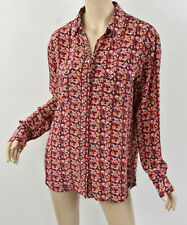 $258 EQUIPMENT Femme Signature Silk Shirt in Apricot Multi Floral Print Top M