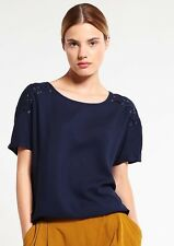 Women BNWT Navy Shoulder Laceb Up Loose Fit Blouse Work Top RRP £24* - UK10/12