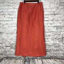 Shirin Guild Midi Skirt Large Linen Womens Orange Pleated Pull On Lagenlook