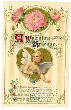 Valentines day -CUPID'S MESSAGE-Embossed John Winsch Postcard Angel