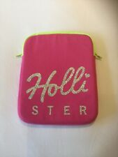 Hollister Abercrombie & Fitch Pink, Glitter Logo, Yellow Zip IPad Case - NEW