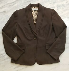 Tahari Arthur S. Levine Womens Blazer Jacket Size 6 Petite Brown Lined Polyester