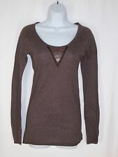 Hollister Brown Top M Long Sleeve Beaded