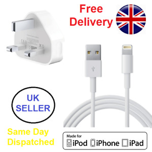 IPhone 7 6 5 8 X S Plus iPad Mains Wall Charger Plug And USB Data Cable by LMT