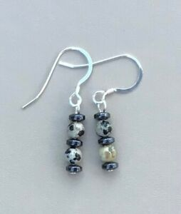 Dalmation Jasper and Hematite Earrings - Made in Ireland